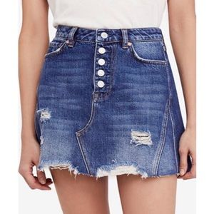 NEW! Free People Denim Button Up A Line Skirt